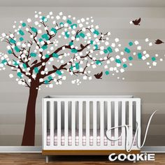 Cherry Blossom Tree with Birds Nursery Wall Decal by wcookie, $132.00