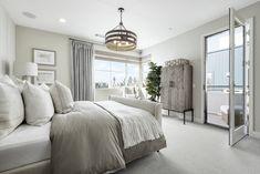 Residence WLH at Revo at Novel Park in Irvine, CA - Taylor Morrison Pine Cabinets, Master Bedroom Design, California Homes, Bedroom Decor, Interior Design, Side Swept, Drapery, Furniture