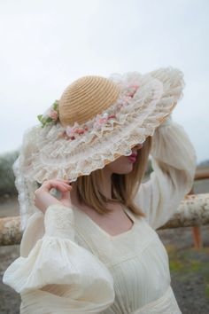 Vintage straw sun hat wedding white lace pink by RoseleinRarities c13d762c895