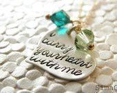 valentine jewelry - i carry your heart with me-Inspired by the beautiful poem by E E Cummings- Choose The Colors Of Your Stone - By Simag