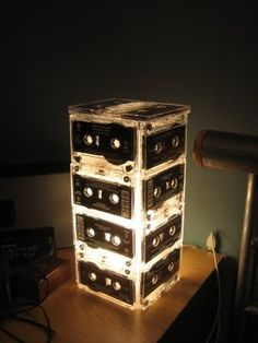 Musically inspired lamp out of cassette tapes! Awesome!