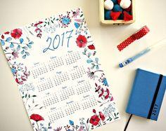 Calendario 2017 illustrato stampabile File digitale Decorazione da parete ufficio boho chic quadri moderni INSTANT DOWNLOAD fiori rossi blu