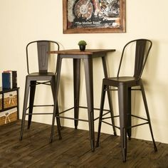 Industrial Metal and Wood Bar Table - Glitzhome, Black High Table And Chairs, Bar Table And Stools, Wood Bar Table, Bar Table Sets, Patio Bar Set, Wood Bar Stools, A Table, Tall Bar Tables, Pub Tables