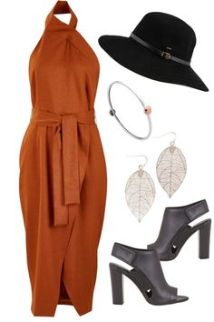 Outfit of the Day: Burnt orange is a key colour for this spring, and we love it in the halter neck, Jayda Dress by Fate. Paired with a striking pair of heels and an alluring hat, it's a combination that will keep them guessing!