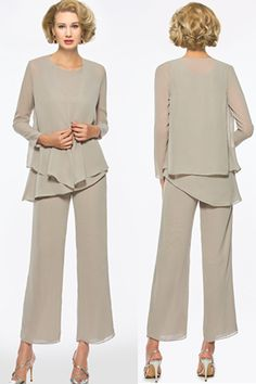 3 Pieces Mother of the Bride Pantsuits with Long Sleeve Jacket Mother Of The Bride Plus Size, Mother Of The Bride Dresses Long, Mother Of Bride Outfits, Mothers Dresses, Mom Outfits, Mob Dresses, Plus Dresses, Stylish Older Women, Pantsuits For Women