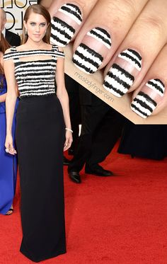 MANICURE MUSE: Allison Williams in Alexander McQueen at the Golden Globes '14 From the red carpet straight to your finger tips… the tutorial for Allison Williams' McQueen is now live!