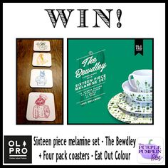 Win OLPRO 16-Piece Bewdley Melamine Set & Eat Out Coasters hosted by Purple Pumpkin Blog ~ UK Only ~ ends 14th April, 2014