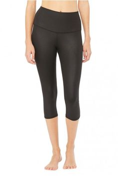 Alo Yoga - High-Waist Airbrush Capri - Black-Glossy-1