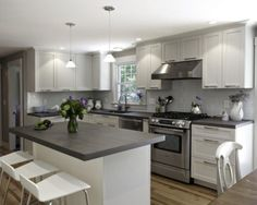 White With Gray Countertops Shaker Cabinets These Go To The