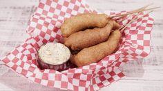 Shrimp Corndogs with Mustard Aioli