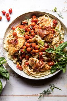 Prosciutto Chicken Parmesan with Garlic Butter Tomato Pasta. (Half Baked Harvest) Prosciutto Chicken Parmesan with Garlic Butter Tomato Pasta. Pasta Recipes, Chicken Recipes, Dinner Recipes, Cooking Recipes, Healthy Recipes, Broccoli Recipes, Steak Recipes, Shrimp Recipes, Prosciutto Wrapped Chicken