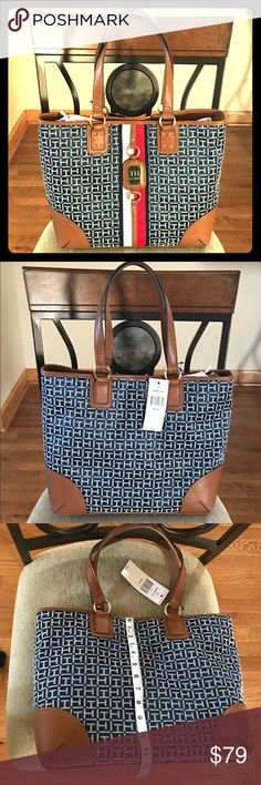 Tommy Hilfiger logo tote bag Brand new with tags with white logo and navy blue background. Measurements shown in photos. Bundle for even greater savings 🤗 Tommy Hilfiger Bags Totes