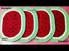 Sousplat de Crochê Melancia | passo a passo | Professora Simone - YouTube