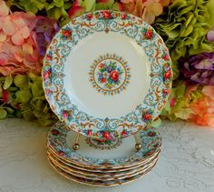 6 Beautiful Vintage Royal Tuscan Porcelain Plates ~ Flowers Roses ~ Scrolls Gold #Tuscan