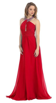 An elegant halter top dress with a ruched bust with a cut out and an empire waist line. It is a classic floor length with a light train. Fabric Chiffon Closure : Zipper Back Sleeve Style : Halter Matc