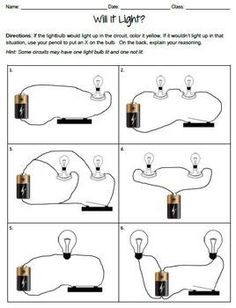 Electric Circuits Worksheets. I like the set up. Kids can draw light rays from each bulb to indicate brightness of the bulbs. 10 lines for brightest... 1 for very dim...