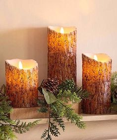 This Brown Woodland LED Candle Set is perfect! #zulilyfinds Flameless Candles, Pillar Candles, Brown Candles, Woodland Christmas, Candle Set, Hearth, Rustic, Decorated Candles, Remote