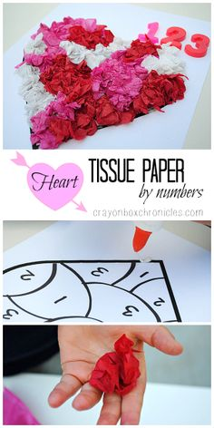 Heart Tissue Paper by Number Craft by Crayon Box Chronicles. Explores fine motor, colors, number sequencing, and sensory.