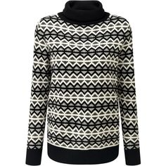 Pure Collection Isabel Jumper, Black/Soft White ($160) ❤ liked on Polyvore featuring tops, sweaters, white sweater, white striped sweater, striped sweaters, rollneck sweaters and long sleeve sweater
