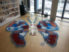 Butterfly made with recycled loose parts  ≈≈ Recycled Art, Shag Rug, Recycling, Butterfly, Rugs, Home Decor, Shaggy Rug, Farmhouse Rugs, Decoration Home