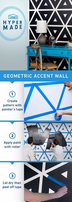 Geometric Accent Wall - Create fun patterns with painters tape to make any room more dynamic. Be sure to wait for the paint to dry completely before carefully peeling off the tape. Then enjoy your beautiful new design! Diy Wand, Mur Diy, Diy Wall Painting, Painting Tips, Wall Art, Painting Furniture, Interior Painting, Floor Painting, Tape Painting