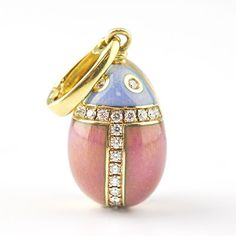 Faberge egg pendant crafted in 18 karat yellow gold, coated in pink and blue enamel and graced with color FG, clarity diamonds weighing approximately Faberge Jewelry, Enamel Jewelry, Jewelry Art, Fine Jewelry, Tsar Nicolas Ii, Fabrege Eggs, Egg Art, Egg Shape, Egg Decorating