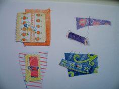 Textielboek, lapjes in de handtas , om er garen, band en knoopjes bij te vinden. Gemengde techniek op papier, 20 x 30 cm., door T. Hiem
