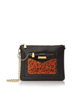 Snob Essentials Women's Convertible Pouch Cross-Body, Black/Leopard at MYHABIT