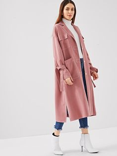 To find out about the Notch Collar Pocket Front Slit Hem Coat at SHEIN, part of our latest Outerwear ready to shop online today! Modesty Fashion, Abaya Fashion, Muslim Fashion, Fashion Outfits, Fashion Clothes, Fashion Trends, Mode Abaya, Mode Hijab, Iranian Women Fashion