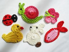 Animal Figured Knitting Applique Models – 30 Strick-Tiermotive - My CMS Crochet Squares, Crochet Motif, Crochet Flowers, Crochet Animals, Crochet Toys, Knit Crochet, Crochet Lion, Crochet Keychain, Crochet Earrings