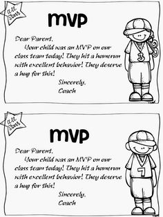 Behavior Management: Sports-Themed Clip Chart Another reason that my students like to clip up is that any student, who ends the day on Homerun, gets to take home an MVP note to their parents!