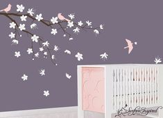 children Wall Decals Nursery Cherry Blossom Tree Vinyl Wall Decal with Birds