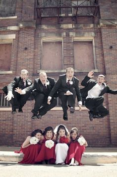 wedding day picture ideas- oh goodness can we do this with 11 bridesmaids and 12 groomsmen? Lol