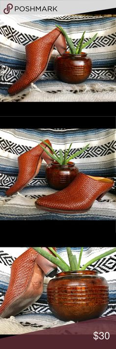 '70's Vintage Leather Mules  Artisan hand crafted brown leather Charlie 1 Horse mules/slides. Awesome vintage boots! Gently worn. Beautiful deep cognac color - great condition! Shoes Ankle Boots & Booties