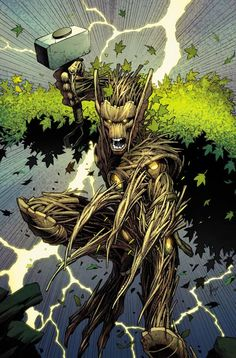 Thors #2 variant cover - Groot by Dale Keown *