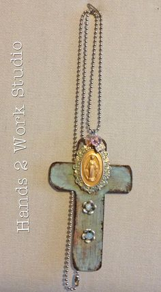 Cross Necklace Shabby Patina with Beautiful by Hands2WorkStudio, $42.00