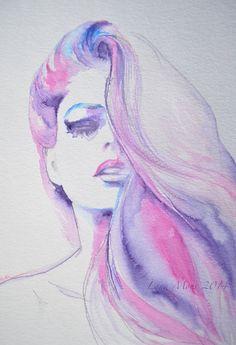 Fashion Watercolor Original Illustration - Pink Painting Titled: La Belle