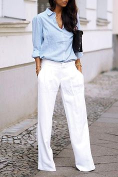 Fashion Outfits: I love this look, but you can see through white pa...