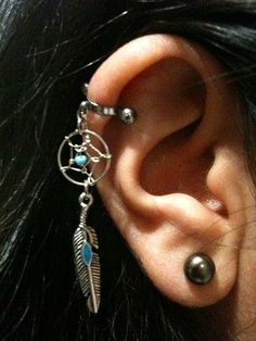 16 Gauge Cartilage Helix Industrial Dream Catcher Charm Turquoise Feather Dreamcatcher 16g G Barbell Ear Cuff Piercing Bar via Etsy