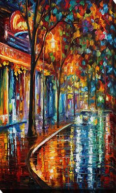 Night Cafe by Leonid Afremov Painting Print on Wrapped Canvas