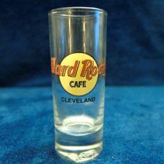 "Hard Rock Cafe Cleveland 4"" Shot Glass Black Text & Circle"