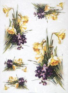 Rice Paper for Decoupage Decopatch Scrapbook Craft Sheet Vintage violets and daf