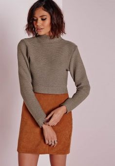 Long Sleeve Turtle Neck Jumper Taupe