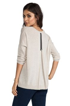 Autumn Cashmere 3/4 Sleeve Zipper Back Sweater in Beachwood from REVOLVEclothing