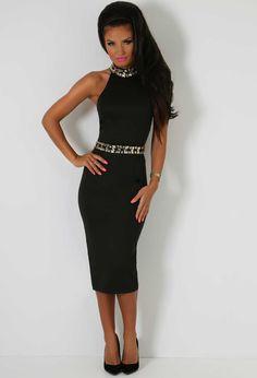 1e10b908de Opulent Black Crystal Embellished Halter Midi Dress