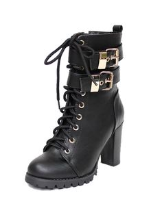 Laced up and buckled black in colour artificial leather make heel height approximately 9cm.