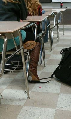 There's a snake in my boot..!    How awesome id this girl to have put Andy on the sole of her boot..!