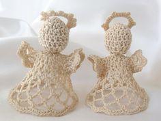 2 Vintage Handmade Angel Christmas Ornaments