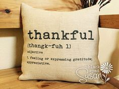 Thankful Pillow Cover  100% Cotton Canvas or by EuroCountryChic