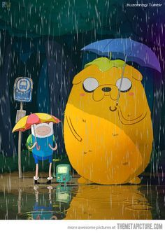 Adventure Time/ Totoro mashup.... Watched to toro with Mary when she was little. Good memories.
